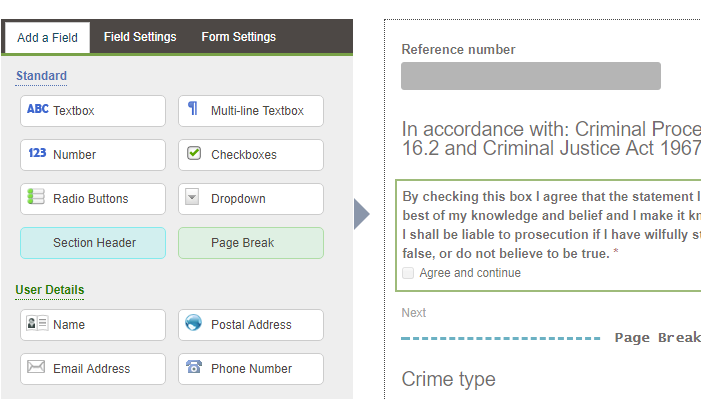 An illustration showing the Contensis form builder used to create the self-service forms on the Cambridgeshire Constabulary website.