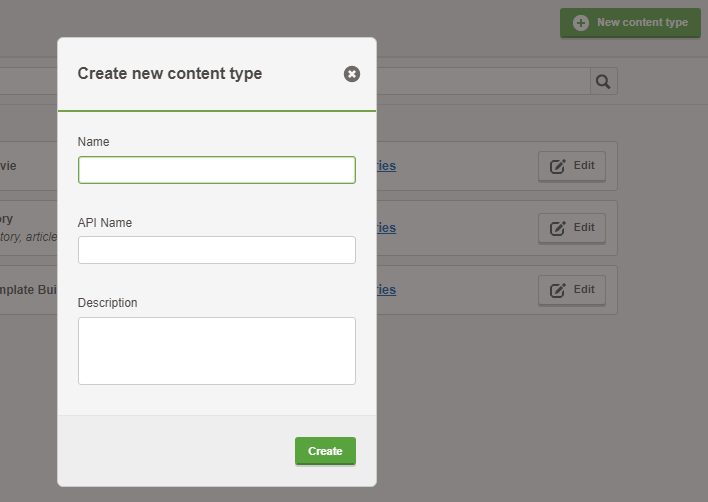 The Create new content type window in Contensis.