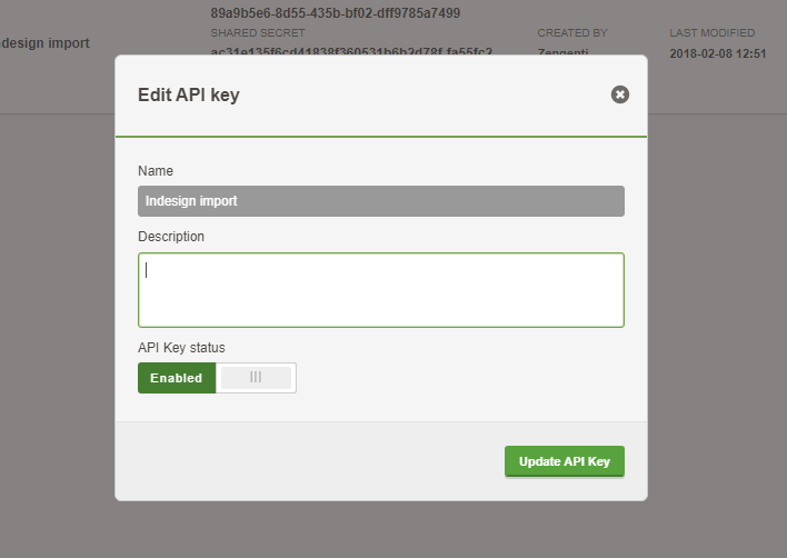 The Create a new API key window in Contensis.