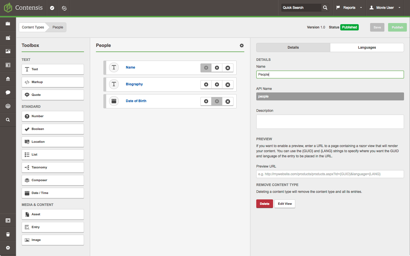 A screenshot of the content type builder with the fields for a person added.