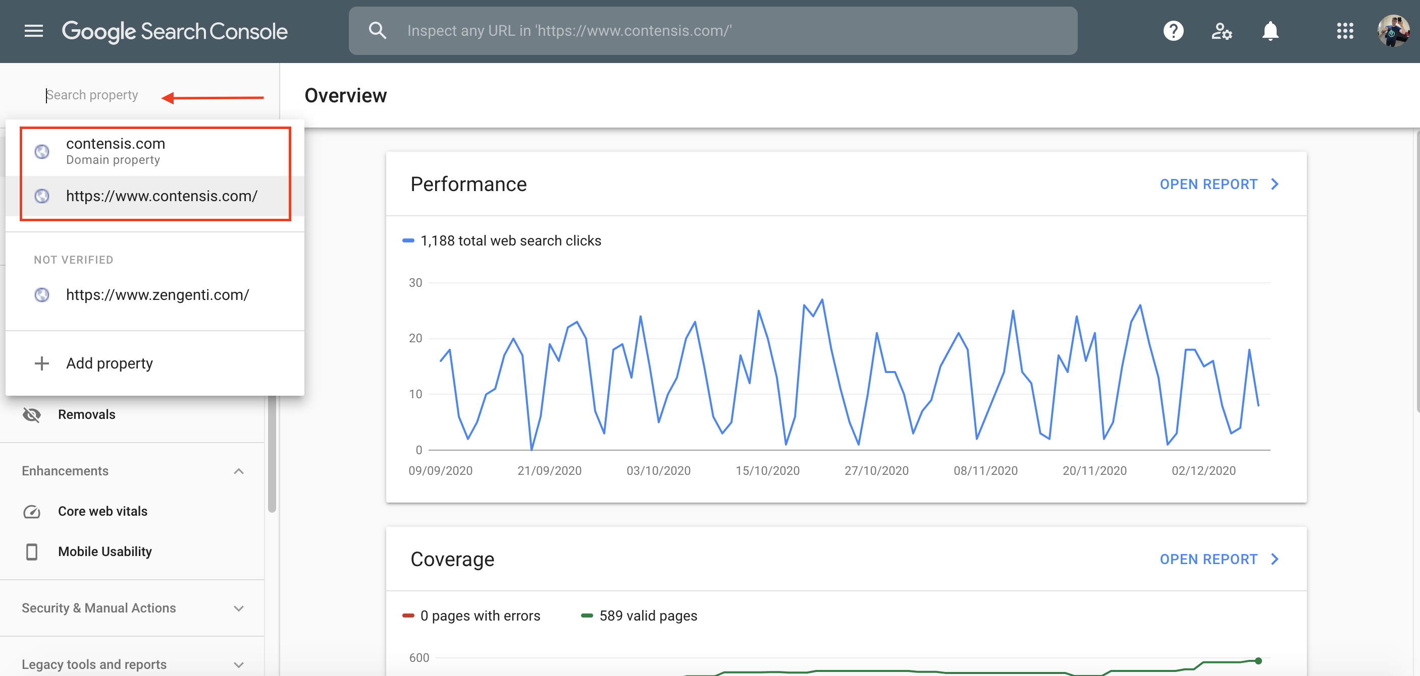 Google search console property