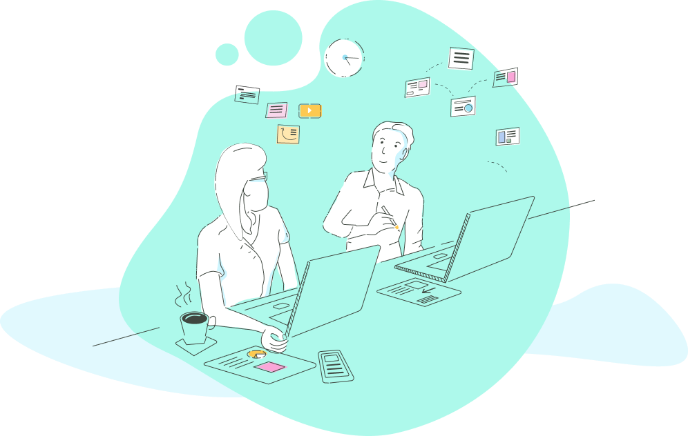 An illustration of two users at their laptops discussing a website.