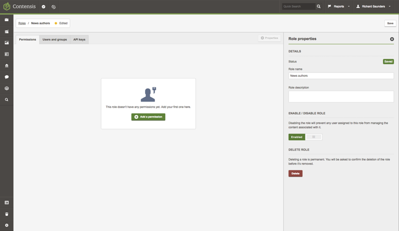 A screenshot of the roles builder