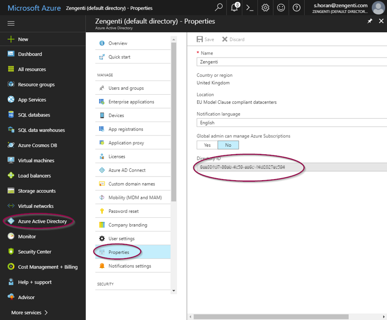 The Directory ID field in the Properties screen of Microsoft Azure Active Directory.