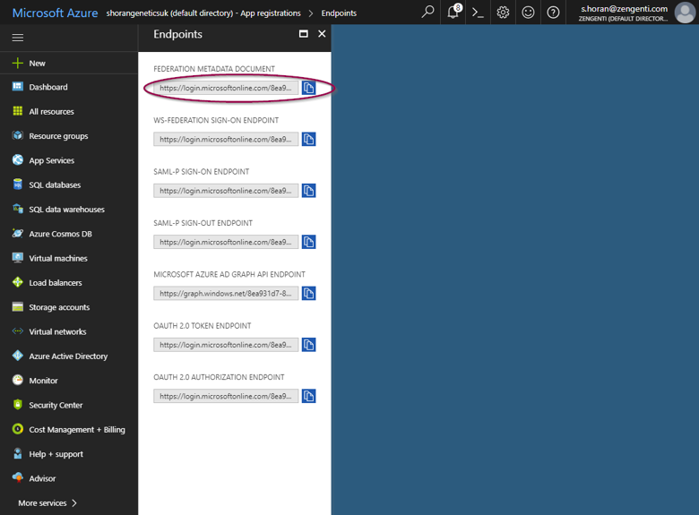 The Federation Metadata Document address field highlighted in the Endpoints screen in Microsoft Azure Active Directory.