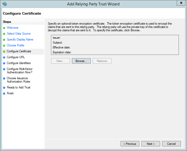 The AD FS configure certificate screen.