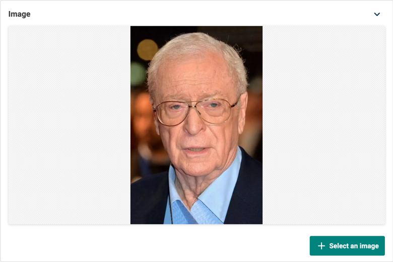A single image editor display a photo of Michael Caine